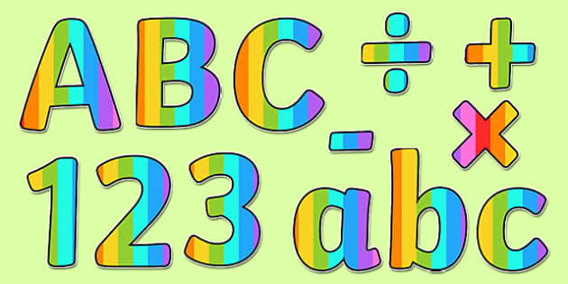 Mulitcoloured Stripe Themed Display Lettering - display lettering