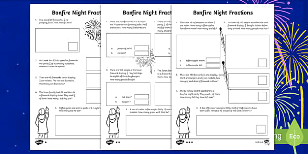 Year 3 Bonfire Night Fractions Differentiated Activity Sheets
