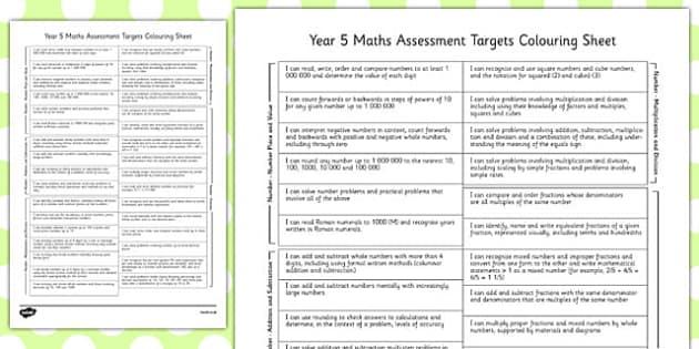 Year 5 Maths Assessment Targets Colouring Sheet - year 5, assessment