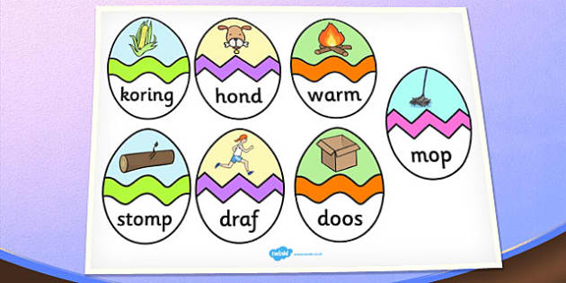 Afrikaans CVC O Words Easter Egg Matching Activity - afrikaans