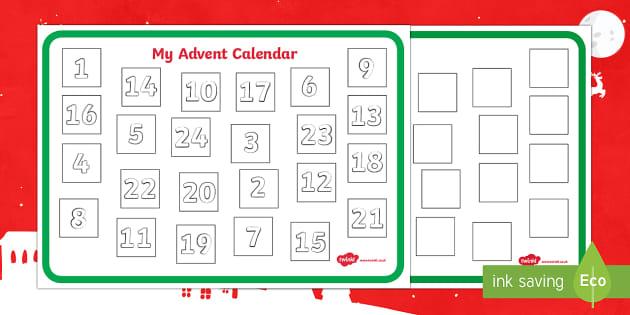 Advent Calendar Designing Worksheet - advent, calendar, design, art