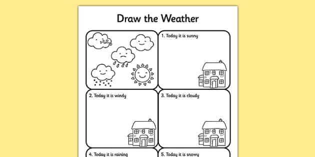 Draw the Weather Activity Sheet weather worksheet drawing – Weather Worksheet