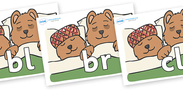 Initial Letter Blends on Mummy & Daddy Bear - Initial Letters, initial letter, letter blend, letter blends, consonant, consonants, digraph, trigraph, literacy, alphabet, letters, foundation stage literacy