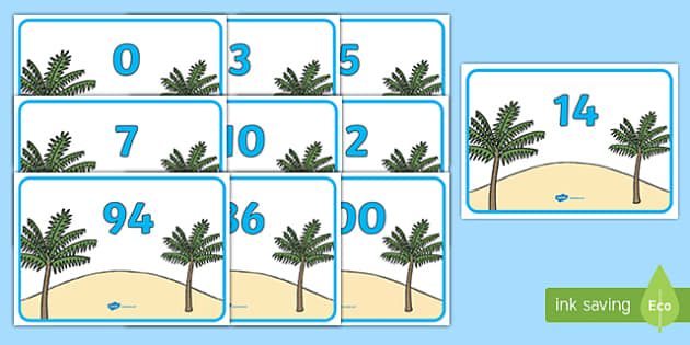 Numbers 0-100 on Palm Trees - 0-100, foundation stage numeracy, Number recognition, Number flashcards, counting, number frieze, Display numbers, number posters