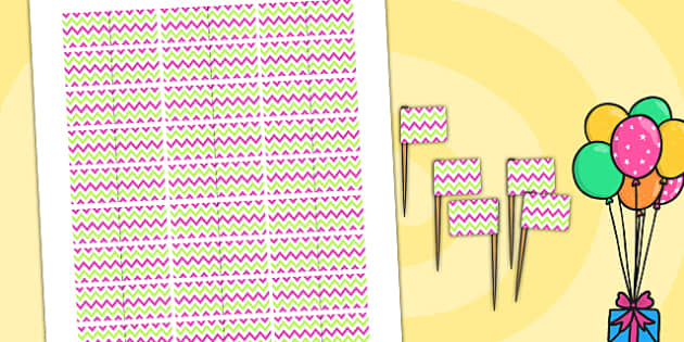 Zig Zag Birthday Party Toothpick Flags Pink And Green - birthdays