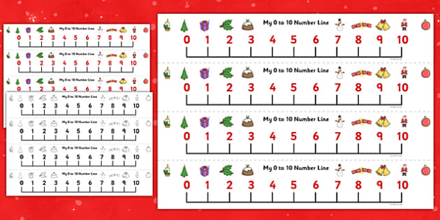 Christmas Number Line (0-10) - Christmas, xmas, Maths, Math, numberline, numberline display, tree, advent, nativity, santa, father christmas, Jesus, tree, stocking, present, activity, cracker, angel, snowman, advent , bauble, display, poster, Countin