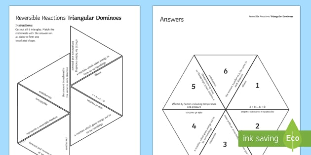 Reversible Reactions Tarsia Triangular Dominoes - Tarsia, gcse, chemistry, rates of reaction, reaction, equilibrium, reversible reaction