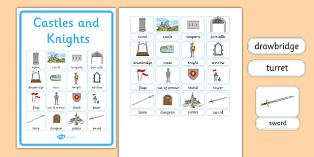 Castles and Knights Vocabulary Poster - castles and nights, display posters, themed posters, images, pictures, key words, castles and nights vocabulary