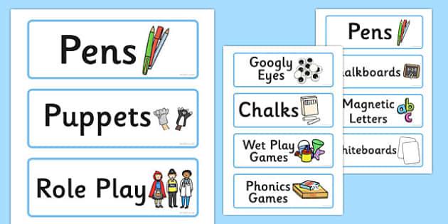 Blue Classroom Resource Labels - lables, signs, classroom labels