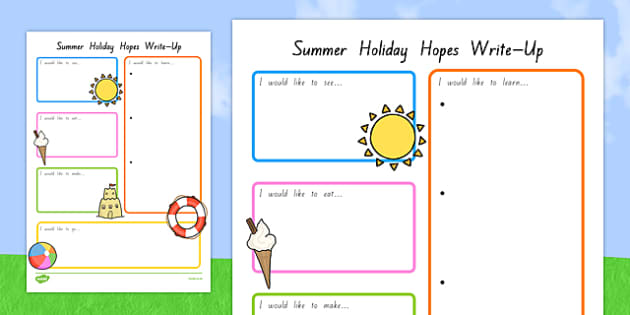 Summer Holiday Hopes Write Up Worksheet - nz, new zealand, seasons, writing sheet, worksheet