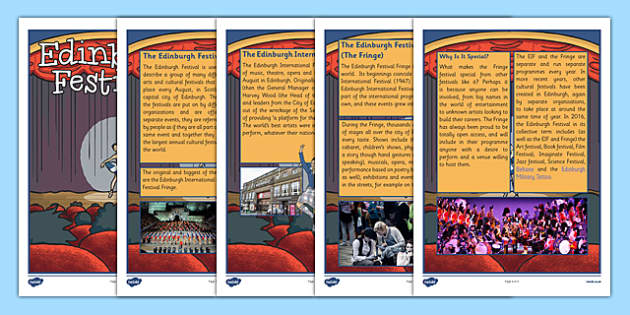 Edinburgh Festival Information Sheets -Famous Scottish Events, arts, culture, summer, music, comedy, research, scotland