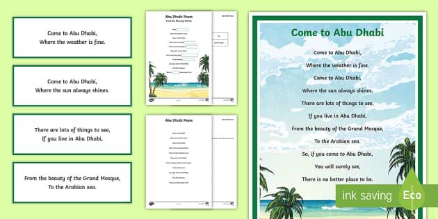 Abu Dhabi Poem - UAE, poem, poetry, Abu Dhabi, visit, advertise, holiday, vacation, rhyme