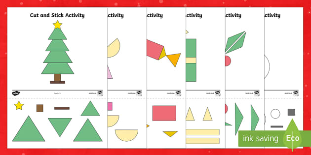Christmas Themed Cut and Stick 2D Shape Activity Sheets
