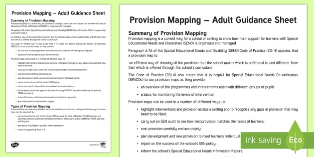 Provision Mapping Adult Guidance - SEN Resources, Special Educational Needs, Special Needs Policy, Provision Map, Waves of Intervention