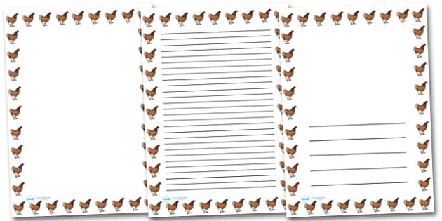 Hen Chicken Portrait Page Borders- Portrait Page Borders - Page border, border, writing template, writing aid, writing frame, a4 border, template, templates, landscape