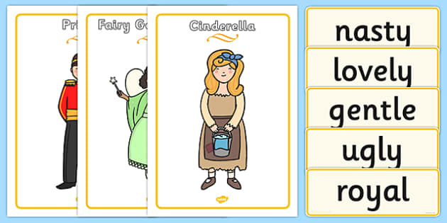 Cinderella Character Describing Words Matching Activity - match