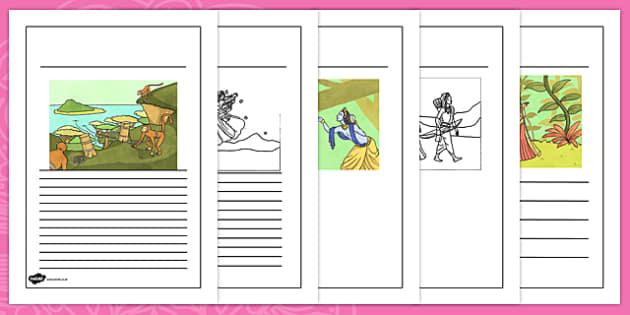 The Story of Rama and Sita Writing Frames - hindu, hinduism, RE