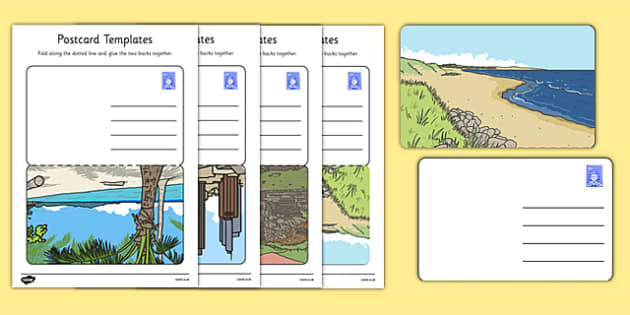 Post Office Postcard Templates - Postcard template, Post card, Postcard awards, Postcard design, post office, role play, letters, stamps, stamp, mail, post, postman, delivery, passport, car tax, mail bag, envelope