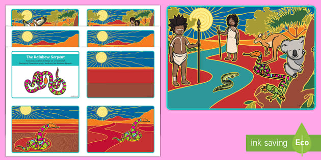 The Rainbow Serpent Story Sequencing Cards