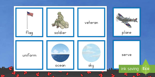 Veteran Noun, Verb and Adjective Sorting Cards