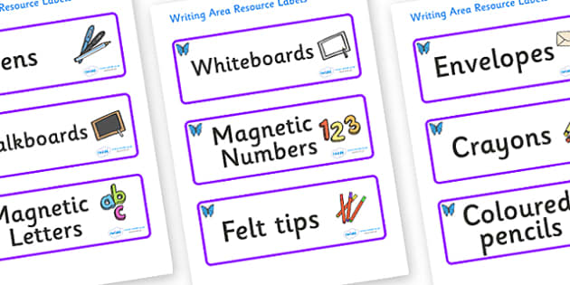 Butterfly Themed Editable Writing Area Resource Labels - Themed writing resource labels, literacy area labels, writing area resources, Label template, Resource Label, Name Labels, Editable Labels, Drawer Labels, KS1 Labels, Foundation Labels, Foundat