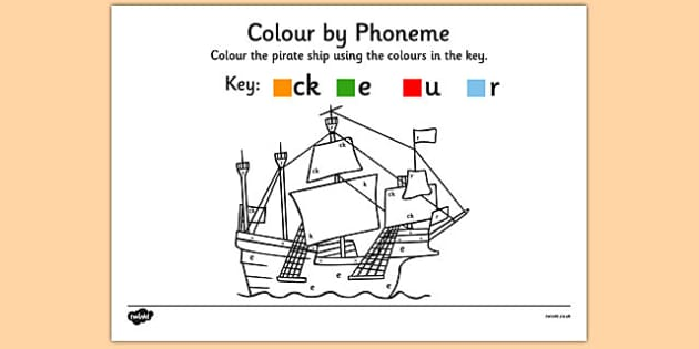Colour by Phoneme Pirate Ship Phase 2 ck e u r - colour, phonemes, pirate ship, phase 2, satpin