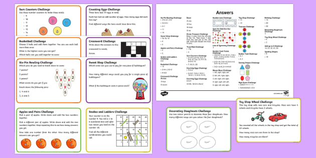KS1 Mixed Maths Challenge Cards - challenge cards, ks1, maths