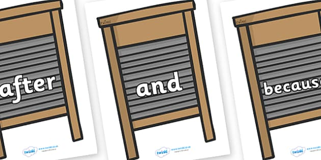 Connectives on Washing Boards - Connectives, VCOP, connective resources, connectives display words, connective displays