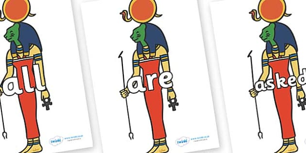 Tricky Words on Egyptian Icons - Tricky words, DfES Letters and Sounds, Letters and sounds, display, words