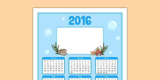 Under the Sea Themed Calendar - under the sea, themed, calendar, days of the week, week, days, year, month