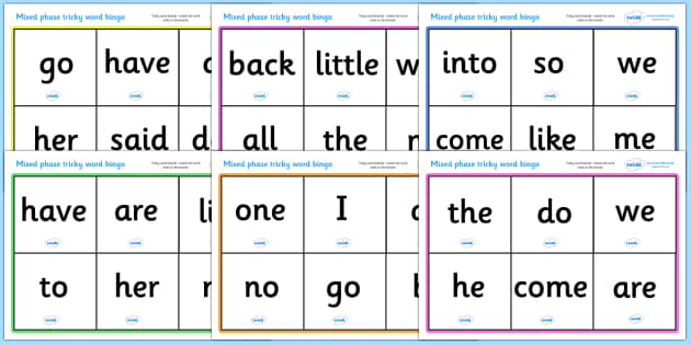 Mixed Phase Tricky Word Bingo - Word Bingo, Phase 2, Phase two, Foundation bingo, High Frequency Words, Letters and Sounds, DfES Letters and Sounds, Tricky Words