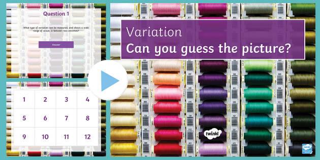 Variation Quiz PowerPoint - PowerPoint Quiz, Variation, Environmental, Hereditary, Inherited, Difference, Genes, Gametes, Contin