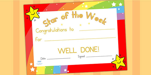 Star of the Week Certificate - award, reward, certificate, star