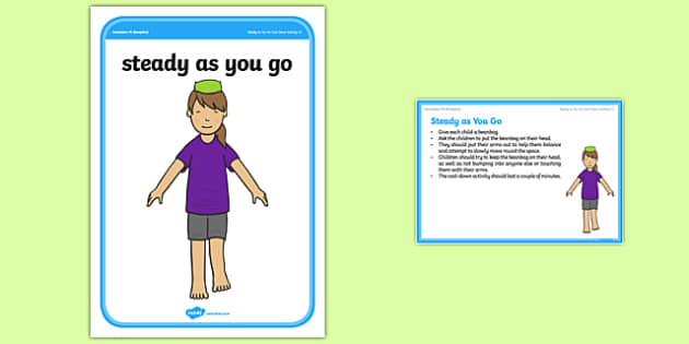 Foundation PE (Reception) Steady As You Go Cool-Down Activity Card - physical activity, foundation stage, physical development, games, dance, gymnastics