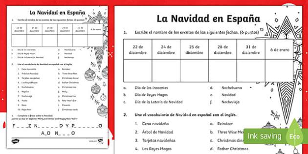 Christmas in Spain Activity Sheet Spanish