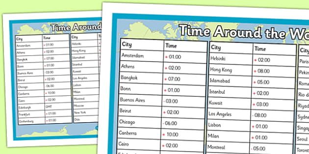Times Around the World Poster time zones times around the – Time Zone Worksheet
