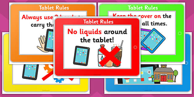 Using Tablets Safely Display Posters - tablets, safely, display, posters
