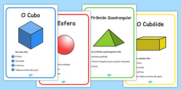 3D Shape Display Posters Portuguese - portuguese, 3d shape, display, posters, 3d, shape, maths