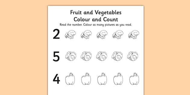 Fruit and Vegetable Themed Count and Colour Sheet - colour, count