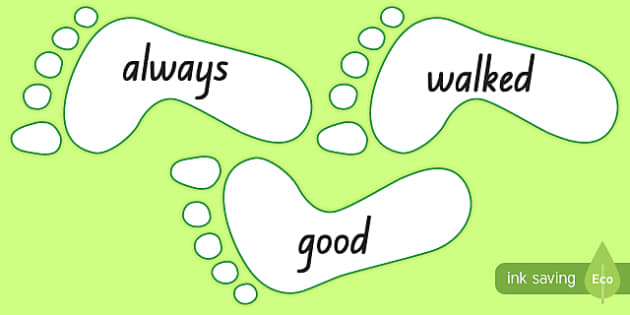 New Zealand Green Sight Words on Footprints Display Cut-Outs
