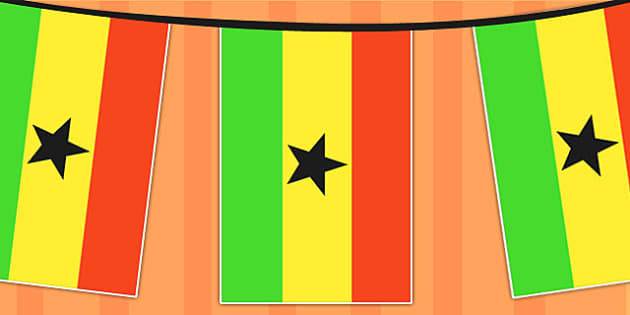 Ghana A4 Flag Bunting - countries, geography, flags, country