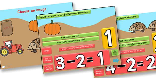 Autumn Themed Subtraction PowerPoint - autumn, subtraction, powerpoint, subtraction powerpoint, autumn powerpoint, numeracy, maths, numbers, take away, minus