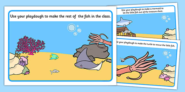 The Little Fish Playdough Mats - tiddler, early years, eyfs, nursery, reception, fish, under the sea, ocean, playdough, play, dough, mat, malleable, fine, motor, skills, control