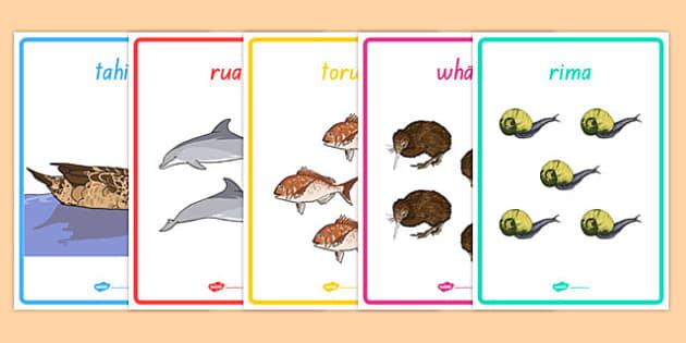 Numbers 1-10 Display Poster Te Reo Māori Animals - te reo maori, new zealand, nz, numbers, display, poster