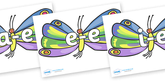 Modifying E Letters on Beautiful Butterflies to Support Teaching on The Very Hungry Caterpillar - Modifying E, letters, modify, Phase 5, Phase five, alternative spellings for phonemes, DfES letters and Sounds