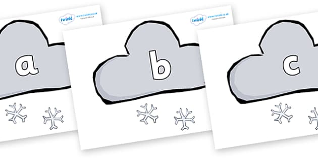 Phase 2 Phonemes on Weather Symbols (Snow) - Phonemes, phoneme, Phase 2, Phase two, Foundation, Literacy, Letters and Sounds, DfES, display