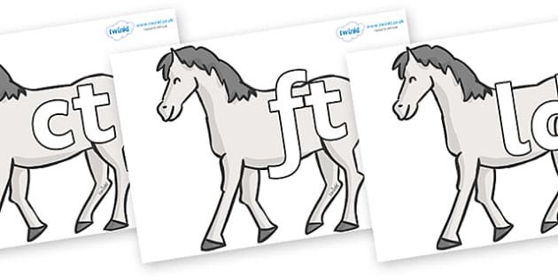 Final Letter Blends on Horses - Final Letters, final letter, letter blend, letter blends, consonant, consonants, digraph, trigraph, literacy, alphabet, letters, foundation stage literacy