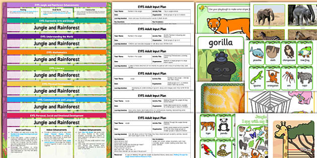 EYFS Jungle and Rainforest Themed Lesson Plan Enhancement Ideas and Resources Pack