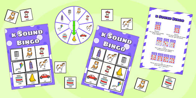 k Sound Bingo Game with Spinner - sounds, sound games, bingo