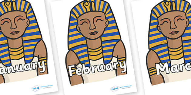 Months of the Year on Pharaoh - Months of the Year, Months poster, Months display, display, poster, frieze, Months, month, January, February, March, April, May, June, July, August, September